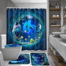 Criativo 3 pçs/set Conjuntos de Banheiro Banho Cortina Cortina de Chuveiro Mar Tartaruga Tampa Do Vaso Mat Non-Slip Tapete de Impressão À Prova D' Água Durável(China)