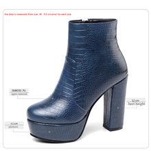 WETKISS Dày Giày Cao Gót Người Phụ Nữ 2020 Loài Rắn Boot Nữ Cổ Chân Khởi Động Nền Tảng Giày Nữ Khóa Kéo Nữ Mùa Đông Giày Plus Kích Thước 43(China)