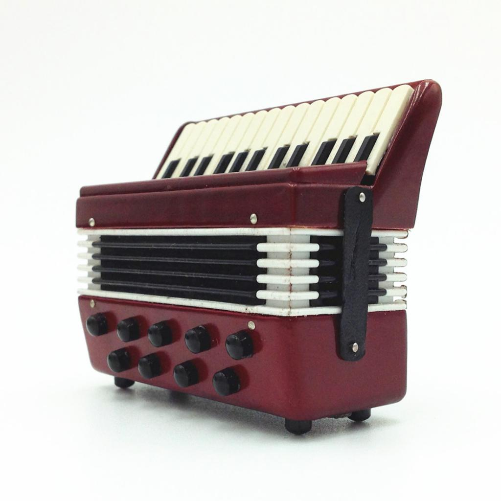 Dollhouse Wooden Accordion Miniature Musical Instrument Collection