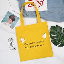 Bolsa reutilizável bolsa de compras moda feminina lona tote sacos impressão eco saco dos desenhos animados shopper sacos de ombro para mulher 2019 sac(China)
