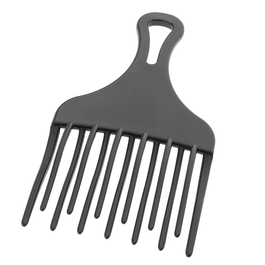 Friction Free High Low Gear Plastic Hairdressing Afro Hair Pick Comb Detangle Wig Braid Styling Lift Hairbrush Wide Tooth Black