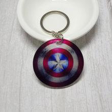 Bonito Keychain Acrílico Marvel Super hero Capitão América do Anel Chave de Cadeia Chaveiro Venda quente(China)