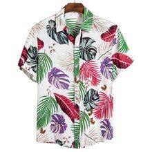 Été homme chemise hommes ethnique imprimé col montant coton lin rayure manches courtes en vrac hawaïen Henley chemise hawaïenne chemise(China)