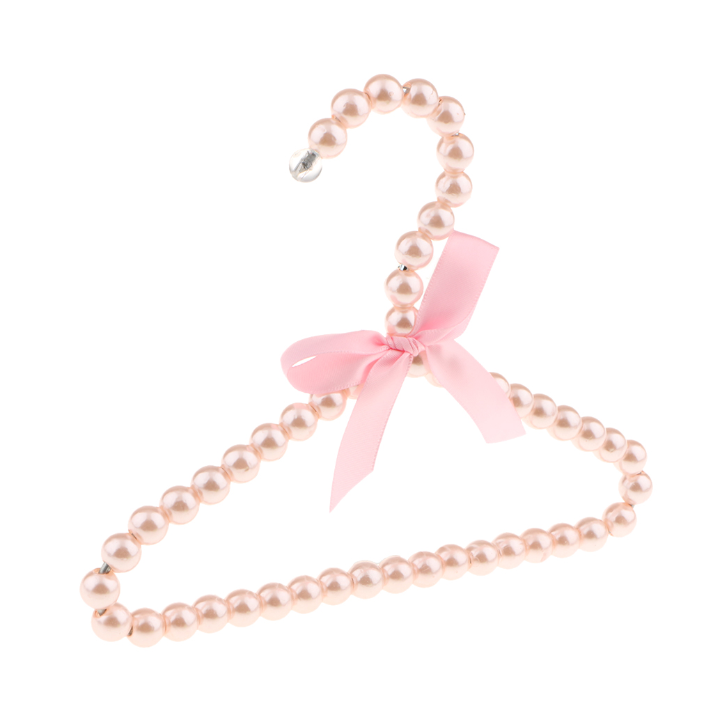 Plastic Pearl White Beaded Clothes Hanger with Ribbon Bowknot Trousers Skirt 20cm Household Organization