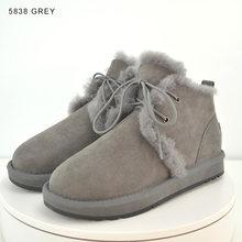 INOE koyun derisi süet deri doğal kürk astarlı moda kadın ayak bileği kışlık botlar kısa kar botları yüksek QualityClearance satış(China)