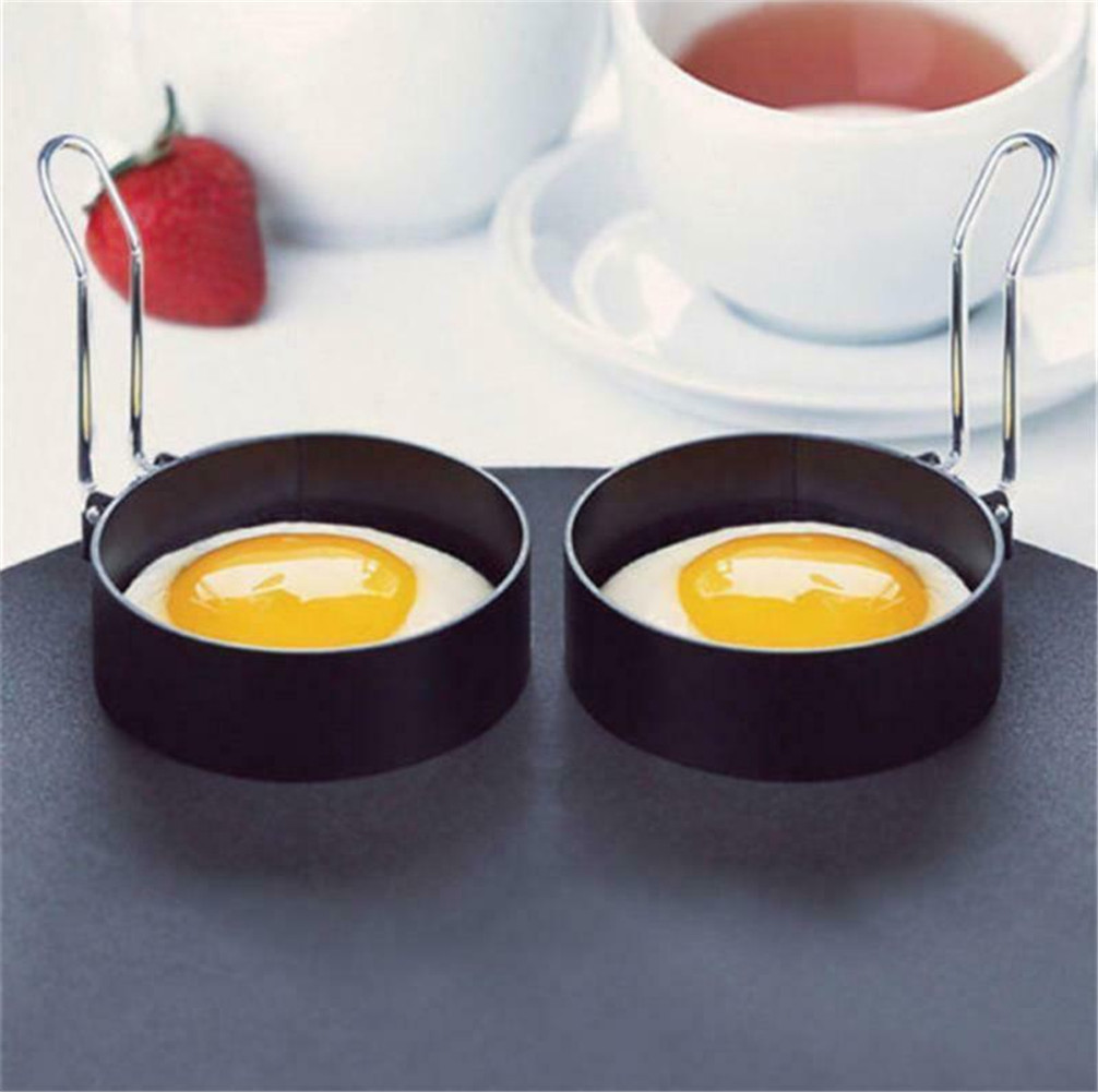 4 NON STICK PERFECT CIRCLE FRIED POACH EGG RINGS MOULD FRYING FOLDING HANDLES