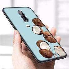 IYICAO フルーツのココナッツで青空ビーチ砂ソフトシリコーン電話ケース Oneplus 7 プロ 6 6T 5 5T TPU 黒カバー 1 プラス 7 プロ(China)
