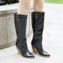 Meotina Mùa Đông Dập Nổi Đầu Gối Cao Giày Nữ Phong Cách Lạ Cao Gót Giày Tây Mũi Nhọn Giày Cao Mùa Thu Vàng Kích Thước 3-12(China)