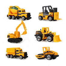 Big Truck & 6PCS Mini Alloy Diecast Car Model 1:64 Scale Toys Vehicles Carrier Truck Engineering Car Toys For Kids Boys }(China)