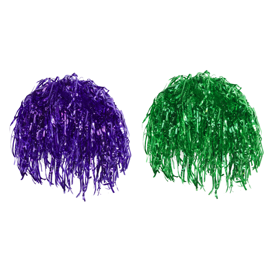 2pcs Tinsel Wigs Unisex Fancy Dressing up Tinsel Wigs Shiny Green Purple Party Csotume Props
