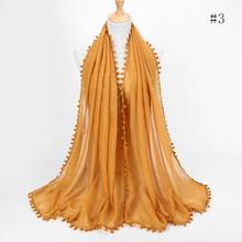Foulard en coton pour femmes | Écharpe boules Pom, châlets, hijab, décoration musulman, bandeau portefeuille, 13 couleurs, écharpes/écharpe 180*80cm(China)