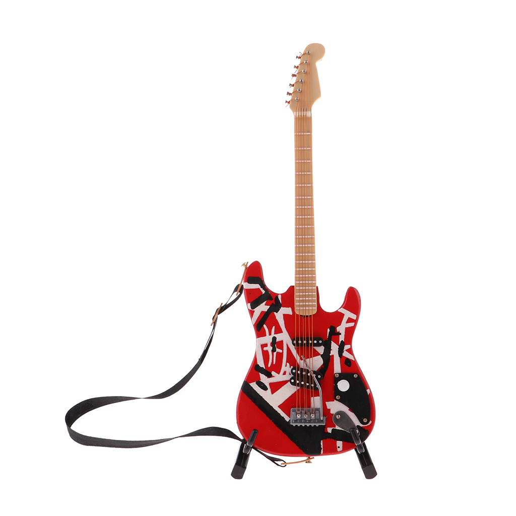 18cm Dollhouse Miniature Wooden Guitar With Stand Model For 1/6 BJD Doll Red
