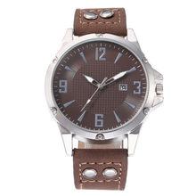 Relojes de cuarzo para Hombre Reloj cronógrafo de cuero genuino Reloj Masculino para Hombre suave estudiante Hombre Reloj(China)