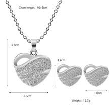משלוח חינם תכשיטים יוקרה זהב-צבע רומנטי אוסטרי קריסטל לב צורת שרשרת שרשרת עגילי תכשיטי סטים(China)