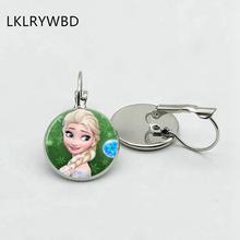 Lklrywbd/Hình Công Chúa Elsa Và Olaf Hoạt Hình Bông Tai Bé Gái Trang Sức Bông Tai Tròn Nữ Cô Gái Quà Tặng Trẻ Em Bạc Phối Ren C(China)