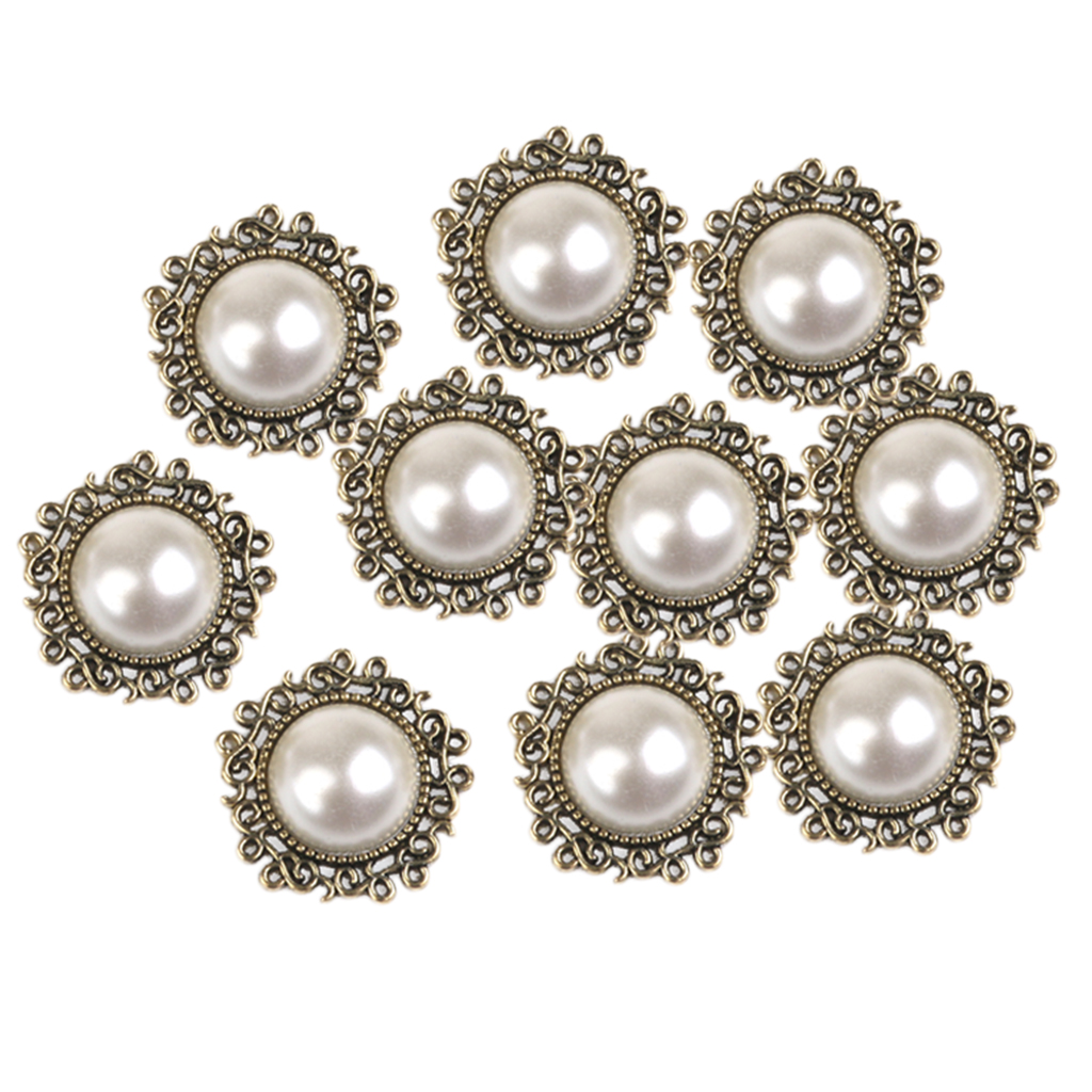 10PCS Retro Vintage Round Beige Faux Pearl Rhinestone Buttons Flatback Embellishments Bulk