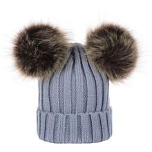 ใหม่ล่าสุด 2019 Hot เด็กแรกเกิดเด็กชายฤดูหนาวขนสัตว์เด็กหมวก PomPom Ball Baby ถักหมวกผ้าฝ้าย(China)