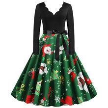 שחור גדול נדנדה הדפסת בציר חג המולד שמלת חלוק נשים החורף מזדמן ארוך שרוול V צוואר סקסי חדש שנה מסיבת שמלה בתוספת גודל(China)