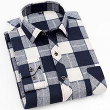 18 цветов 2019 осень зима теплое толстое мужское платье рубашка повседневная мужская клетчатая рубашка брендовая качественная Хлопковая мужс...(China)