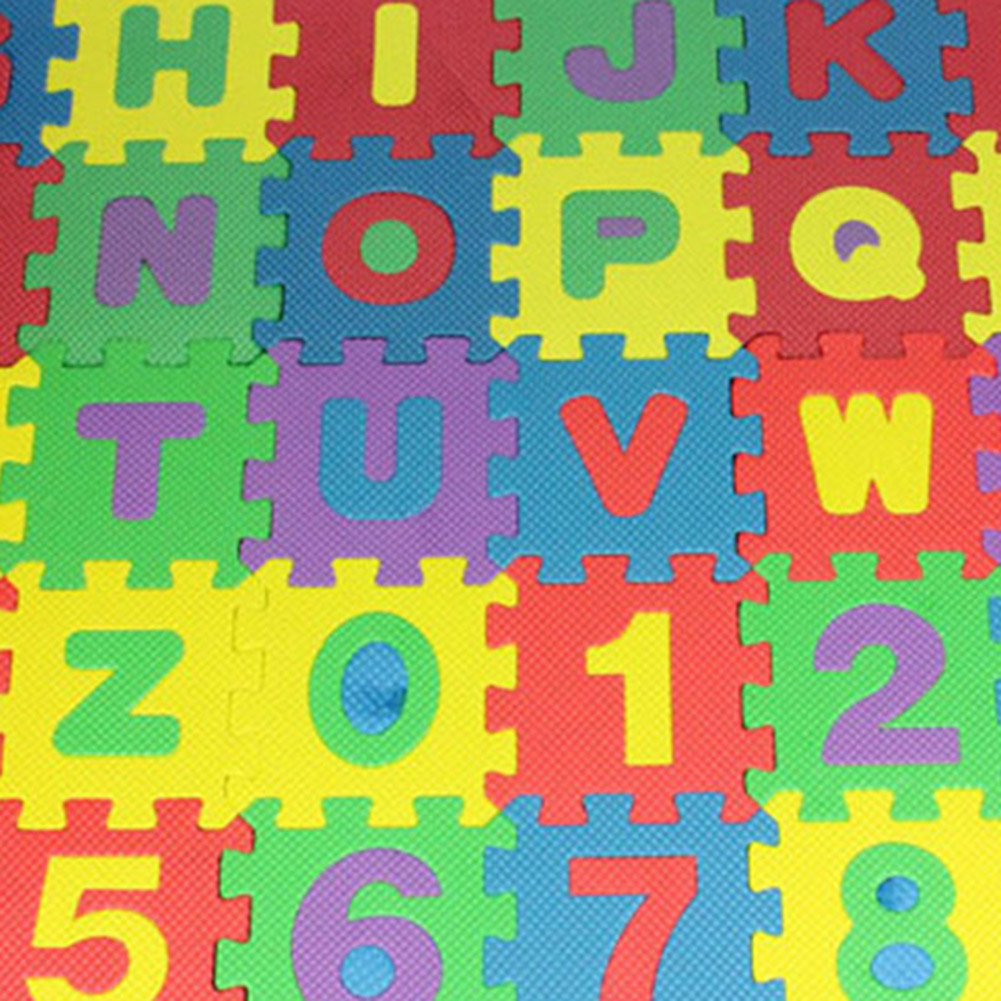 HEQUSigns 36 Pcs Baby Kids Alphanumeric Educational Puzzle Foam Mats Blocks Toy Gift for Living Room Bedroom Sofa Floor Rugs