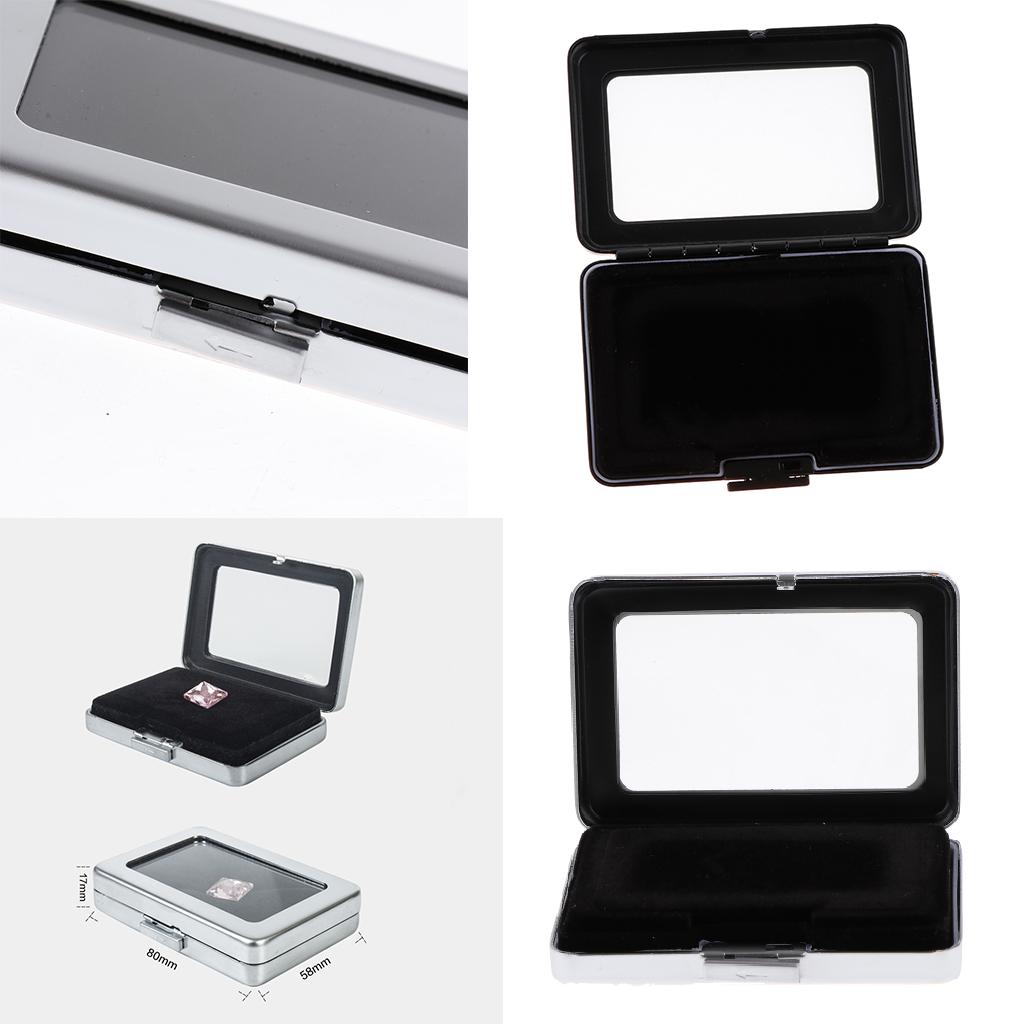 2Pcs Precious Diamond Gem Gemstone Storage Box, Safety Dual-Face Velvet Lining Organizer Case, 8.0 x 5.8 x 1.7cm