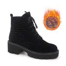 VAIR MUDO 2019 yeni kış ayak bileği çizmeler kadın ayakkabıları siyah dantel-up yün sıcak çocuk süet bayanlar kalın alt Martin çizmeler shoesDX57(China)