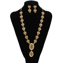 Dubai Indien Gold Farbe Ohrringe/Halsketten/Schmuck sets für Frauen Gold Farbe Afrikanische/Hochzeit Schmuck set Geschenke band Geschenk box(China)