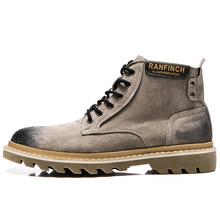KATESEN Herfst Winter pluche warm echt lederen mannen laarzen alle seizoen werkschoenen man enkellaars met bont zwart Outdoor laarzen(China)