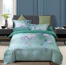 100% Egyptian Cotton Bedding Queen King size 4Pcs Birds and Flowers Leaf Pattern Gray Shabby Duvet Cover Bed sheet Pillow shams(China)