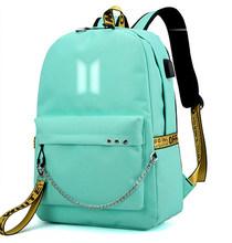 KPOP дорожный рюкзак для ноутбука для женщин Оксфорд унисекс мягкий рюкзак для путешествий рюкзаки kpop рюкзак с мультяшным принтом наушники USB...(China)
