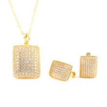 יוקרה דובאי Birdal חתונה תכשיטי סטים לנשים AAA מעוקב Zirconia אופנה זהב צבע עגילי שרשראות(China)