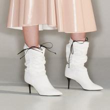 Prova Perfetto Iki Yolu Giymek Yenilik Kat Patent Deri Kadın Diz Yüksek Çizmeler Seksi Sivri Burun Yüksek Topuk Ayak Bileği dans Botları(China)