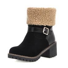 BONJOMARISA Yeni Sıcak Satış Artı Boyutu 34-48 Leopar Patik Bayan Kış sıcak Kaymaz yarım çizmeler Kadınlar 2019 düşük Topuklu Ayakkabılar Kadın(China)