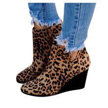 Leopar takozlar yarım çizmeler kadın için yüksek kalite büyük boy akın Martins çizmeler kadın ayakkabı kış sıcak kar botları kadınlar bırak(China)