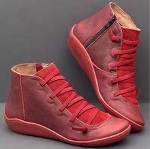 Kış çizmeler kadın yarım çizmeler Lace Up deri ayakkabı çapraz Strappy Vintage kadınlar Punk düz ayakkabı Botas Mujer Invierno 2019(China)