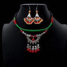 2019 Vintage bijoux ethniques seste fait à la main Antique argent collier ras du cou goutte boucles d'oreilles ensemble Boho Costumes accessoires(China)