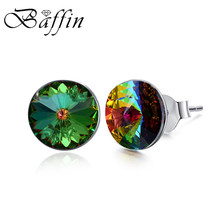 Baffin Classic Round Silver Color Stud Earrings Crystals From Swarovski Piercing For Women Party Wedding Rhinestone Girl Jewelry(China)