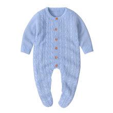 Pudcoco 2019 новый 0-18 мес., комплект одежды для маленьких мальчиков и девочек теплый комбинезон для новорожденных, одежда на рост вязаный однотон...(China)