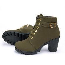 Martin çizmeler kadın 2019 moda dantel-up bayanlar yüksek topuk ayakkabı kadın vintage kış kadın çizmeler yüksek topuk yarım çizmeler artı boyutu(China)