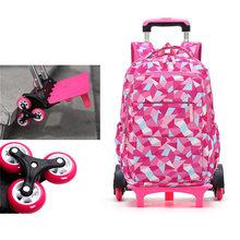 Children Backpack On Wheels School Bags with 2/6 Wheels Detachable Trolley School Bags for Girls Boys Waterproof Kids Book Bag(China)