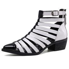 Karinluna yeni artı boyutu 42 rugan bayan kare topuklu yaz kadın ayakkabı Abkle çizme cilt sandalet kadın(China)