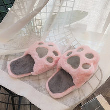 Khtaa Nữ Mùa Đông Nhà Dép Phẳng Mềm Mại Dễ Thương Móng Vuốt Thường Ngày Người Phụ Nữ Sang Trọng Ngắn Thoải Mái Nữ Ấm Áp Thời Trang Trượt Trên Lông Xù giày(China)
