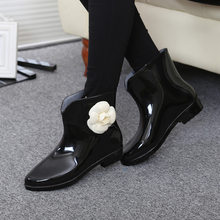 Dropshipping Nữ Họa Tiết Hoa Bowtie Thu Cổ Chân Khởi Động Mùa Đông Giày Đi Mưa Nữ Chống Nước Cao Su Chắc Chắn Giày Nữ Giày(China)