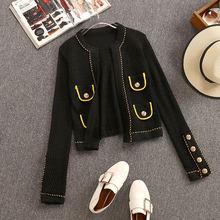 여성 2019 가을 겨울 패션 속이 빈 카디건 스웨터 긴 소매 골든 버튼 니트 아우터 코트 자켓 탑(China)