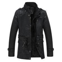 Chaquetas de cuero casuales para hombre invierno moda masculina chaqueta de imitación de PU de alta calidad abrigo de cuero para hombre(China)