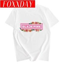 Kpop blackpink impressão camiseta feminina nova verão casual preto rosa o-pescoço manga curta coréia hip hop camisa harajuku S-2XL roupas(China)