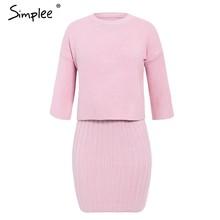 Simplee Elegante 2 pezzi delle donne vestito lavorato a maglia Sottile senza maniche del maglione del vestito di Autunno di inverno delle signore maglione del pullover del vestito set 2019(China)