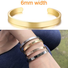 Inspirujące bransoletka mankiet Bangle dla kobiet różowe złoto srebro grawerowane bransoletki żona narzeczony personalizowane prezenty(China)