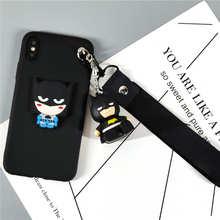 Bonito Brinquedo Cinta Do Telefone Stander Case para iphone 7 Superhero 3D 8 plus 6 6s 5S X XS Max XR batman Ironman Suave TPU Voltar Capa Fundas(China)