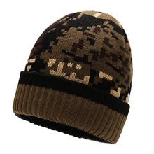 جديد الرجال الشتاء الخريف قبعة قبعة صغيرة بيني للرجال قبعات متماسكة التمويه محبوك رجل تزلج بيني الدافئة المخملية قبعات Skullies(China)